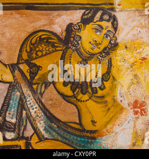 Colorful Mural Painting On Walls Of Inner Courtyard In The Brihadishwara Temple, Thanjavur,india - Stock Photo