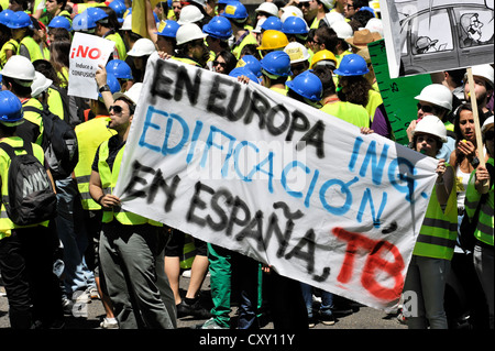 Spanish workers on strike, May 2011, Centro, Madrid, Spain, Europe - Stock Photo