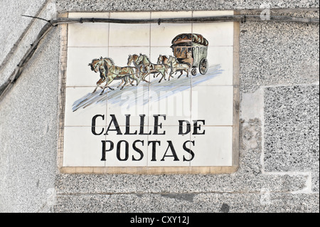 Tiled street sign, Calle de Postas, Madrid, Spain, Europe - Stock Photo