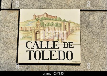 Tiled street sign, Calle de Toledo, Madrid, Spain, Europe - Stock Photo