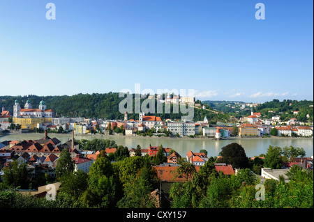 Passau, view over the Inn River with St. Stephen's Cathedral, Church of St. Michael and Veste Oberhaus fortress, - Stock Photo