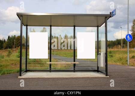 Modern Bus Stop Shelter with Two Blank Billboards for your Advertisement. - Stock Photo