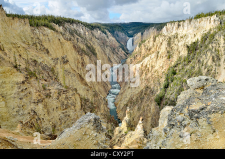 Lower Falls, view from Artist Point, South Rim, Grand Canyon of the Yellowstone River, Yellowstone National Park, - Stock Photo