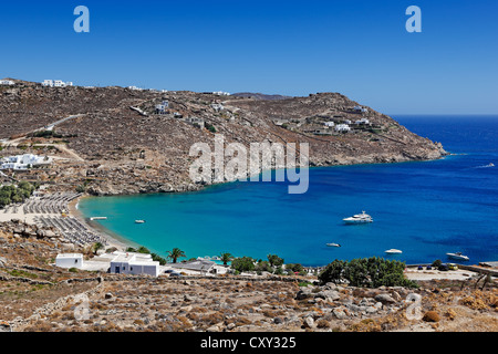 Super Paradise is one of the most famous beaches in Mykonos, Greece - Stock Photo