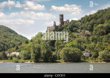 Castle Sooneck between Trechtingshausen and Niederheimbach in the Middle Rhine Valley, Rhineland-Palatinate, Germany - Stock Photo