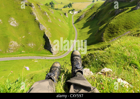 Hope Valley from Winnats Pass near Castleton in the Peak District National Park Derbyshire England - Stock Photo