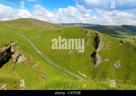 View from cliffs above Winnats Pass in the Peak District National Park Derbyshire England - Stock Photo