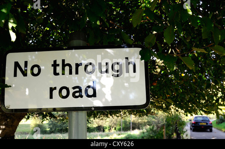 No through road sign on a country road - Stock Photo