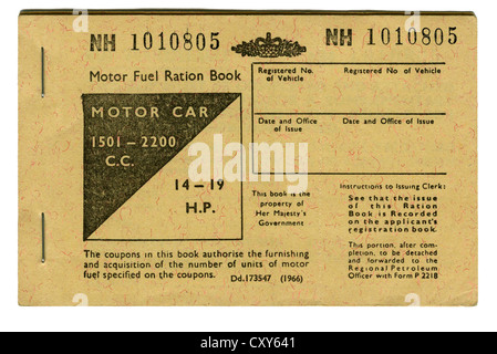 British Motor Fuel Ration Book for Motor Car 1501-2200cc (1966) - Stock Photo