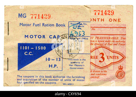 British Motor Fuel Ration Book for Motor Car 1001-1500cc (1957) - Stock Photo