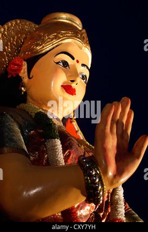 Hindu Goddess Sri Durga Devi Blessing Sculpture on the Temple Festival Procession at Kerala,India - Stock Photo