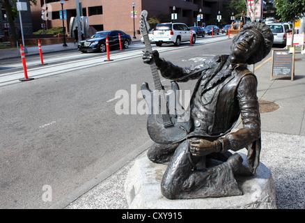 Jimi Hendrix statue in the Capitol Hill area of Seattle, Washington, USA - Stock Photo