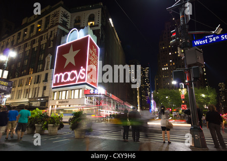 NEW YORK CITY - SEPT 13: Macy's Herald Square at landmark intersection in New York City at 34th Street. - Stock Photo