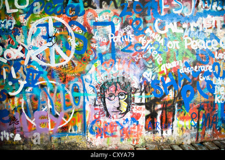 The John Lennon graffiti Wall in Prague - Stock Photo