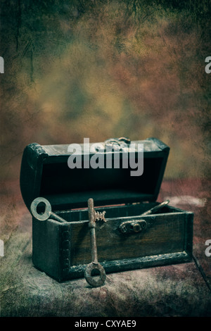 old, rusty keys in a dusty chest - Stock Photo