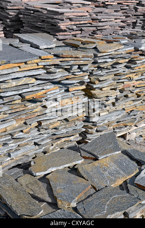 Piles of natural wall stone cladding - Stock Photo