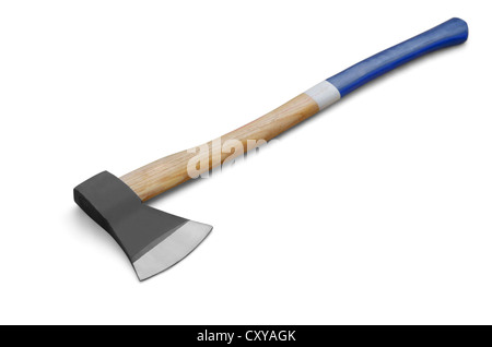 Iron axe with wooden handle isolated on white
