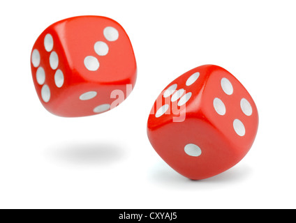Two rolling red dice isolated on white - Stock Photo