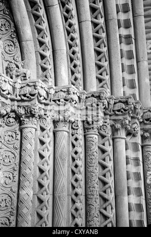 BUDAPEST - SEPTEMBER 22: Detail of gothic capitals from west portal on Church of Jak in Vajdahunyad castle on September - Stock Photo