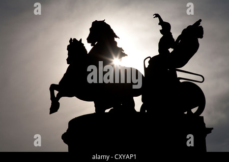 BUDAPEST - SEPTEMBER 22: Detail of  Millennium Monument in Heroes' Square in silhouette on September 22, 2012 in - Stock Photo