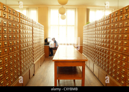 Filing cabinets in a university library - Stock Photo