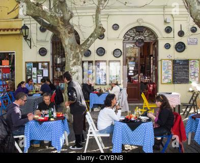 Al Freco Dining. Drugstore Restaurant, Colonia del Sacramento, Uruguay, South America - Stock Photo
