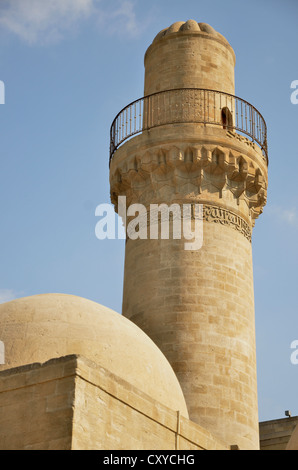 Minaret of the mosque in the Palace of the Shirvanshahs from the 14th century, Baku, Azerbaijan, Caucasus, Middle - Stock Photo