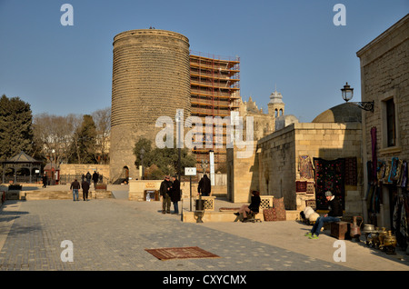 Maiden's Tower from the 5th Century in the Old City of Baku, UNESCO World Heritage Site, Azerbaijan, Caucasus, Middle - Stock Photo