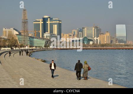 Waterfront promenade, Bulevar, Baku, Azerbaijan, Caucasus, Middle East, Asia - Stock Photo