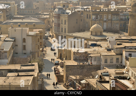 Overlooking the historic town centre of Baku, UNESCO World Heritage Site, Azerbaijan, Caucasus, Middle East, Asia - Stock Photo