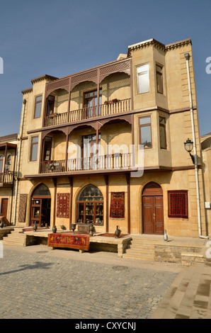 House facade in the historic town centre of Baku, UNESCO World Heritage Site, Azerbaijan, Caucasus, Middle East, - Stock Photo