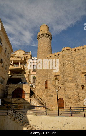 Minaret of the Mosque of Muhammad in the historic town centre of Baku, UNESCO World Heritage Site, Azerbaijan, Caucasus - Stock Photo