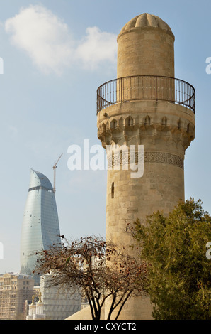 View from the Palace of the Shirvanshahs from the 14th century, with its little mosque, towards the high-rise buildings - Stock Photo