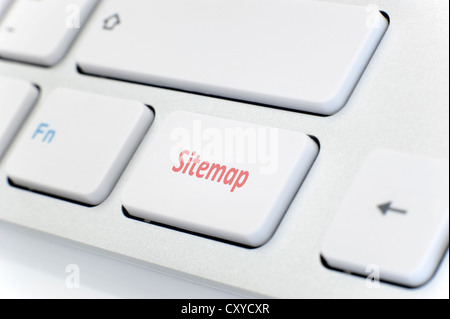 Modern white keyboard with red word 'Sitemap' - Stock Photo