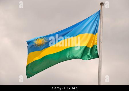Rwandan national flag, Rwanda, Africa - Stock Photo