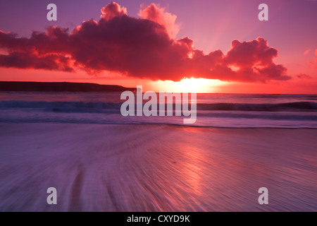 Skaill beach winter sunset, Orkney isles - Stock Photo