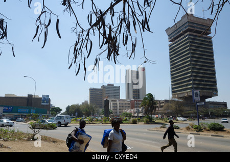 Findeco house and Cairo road. Downtown Lusaka. Zambia. Africa. - Stock Photo
