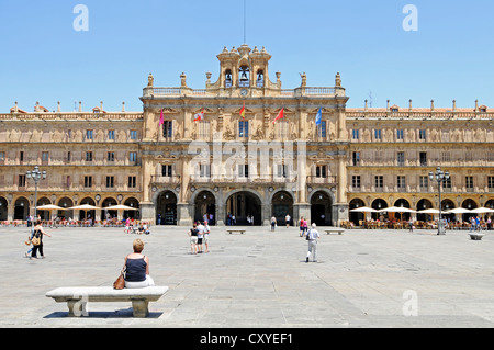 Plaza Mayor square, Town Hall, Salamanca, Castile-Leon, Spain, Europe, PublicGround