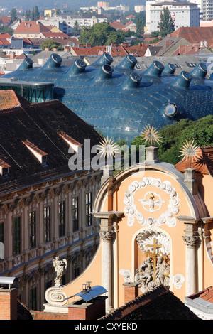 Kunsthaus, art house, and Dreifaltigkeitskirche, Trinity Church, view from Schlossberg, castle hill, Graz, Styria, - Stock Photo