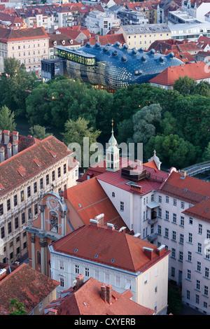 Kunsthaus, art house, river Mur, Palais Attems and Dreifaltigkeitskirche, Trinity Church, view from Schlossberg, - Stock Photo