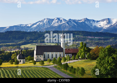 Pilgrimage church of St. Marinus and Anian in Wilparting, community of Irschenberg, Mangfall Mountains, Oberland - Stock Photo