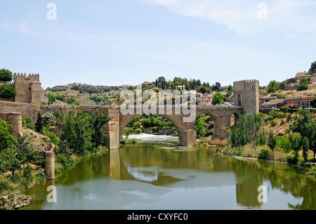 Puente de San Martin, bridge, Tagus river, Rio Tajo, Toledo, Castile–La Mancha, Spain, Europe, PublicGround - Stock Photo