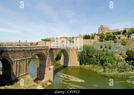 Puente de San Martin, bridge over the Tagus river, Rio Tajo, Toledo, Castile–La Mancha, Spain, Europe, PublicGround - Stock Photo