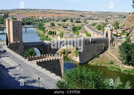 Puente de Alcantara, bridge over the Tagus river, Rio Tajo, Toledo, Castile–La Mancha, Spain, Europe, PublicGround - Stock Photo
