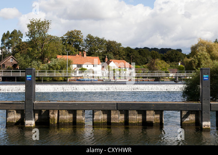 The weir on the River Thames at Hambleden, Buckinghamshire, UK - Stock Photo