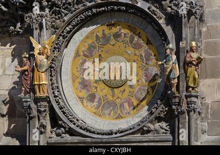 Prazsky orloj, the astronomical clock of Prague's town hall, built in 1410 by royal clockmaker Mikulas of Kadan, - Stock Photo