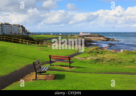 Seats on seafront overlooking Nature Reserve's rocky shore on north coast at Portrush, County Antrim, Northern Ireland, - Stock Photo