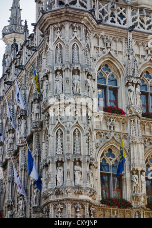 Town Hall, grand place, grote markt, Leuven, Flanders, Belgium - Stock Photo