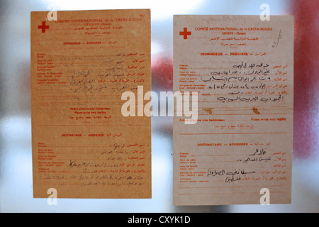 Red Cross request letters written by Palestinian prisoners displayed at the Abu-Jihad Museum in Al Quds university - Stock Photo