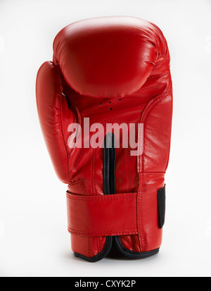 Red boxing glove standing upright on white background - Stock Photo